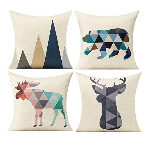 Animal Print Cushion Covers Geometric Pattern Pillow Nordic Simple Decor Outdoor Retro Mountain Kinds Throw Pillows 18X18 Set of 4 Cotton Linen for Sofa Couch Bed Patio Bench Deer Reindeer Bear