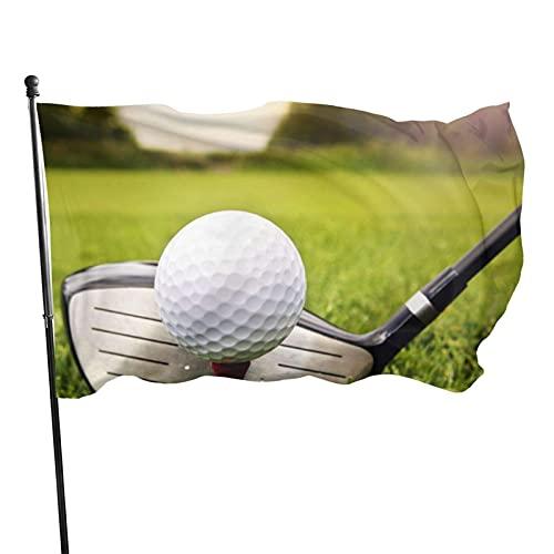 GOSMAO Bandera Bandera Bola de Palo de Golf en Hierba Verde Bandera de jardín de poliéster Exterior Resistente a la decoloración para decoración del hogar al Aire Libre 150X90cm