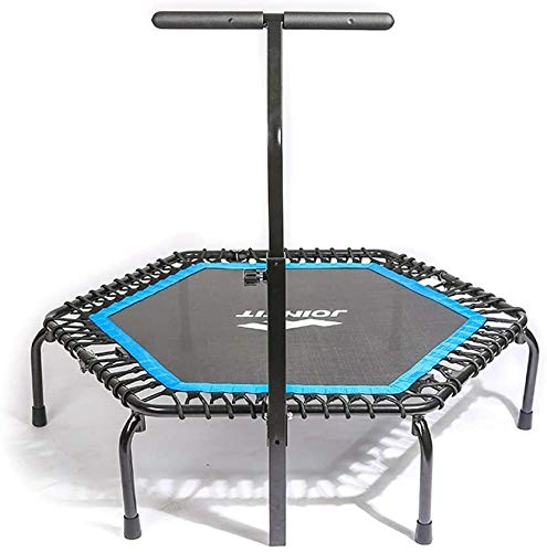 LAMTON Mini Foldable Trampoline with Adjustable Handrail Handle Bar – Indoor Rebounder for Adults – Best Urban Cardio Workout Home Trainer– Max Limit 330 lbs