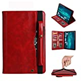 GUODONG Tablet PC Case Flip Funda de Cuero for Huawei MediaPad M6 10.8, con la Tarjeta de Ranuras Dobles y Pluma Ranuras y Soporte y Monedero y Marco de Fotos (Negro) Horizontal Tablet contraportada