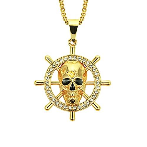 JOK Collar Colgante de cráneo de cráneo de Hip-Hop Europeo y Americano, Colgante Colgante de la Personalidad de los Hombres, Gold