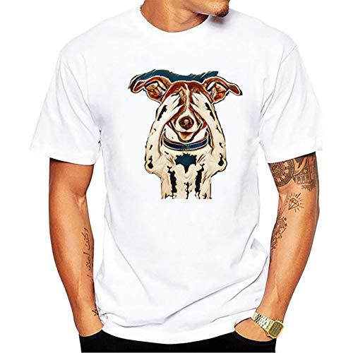 YAMAO 3D T-Shirts Sport Tops Outdoor Kleding, Gevouwen hondenpatroon bedrukking-heren effen kleur T-shirt met ronde hals, goedkoop, puur katoen, straatkleding, casual sporttop
