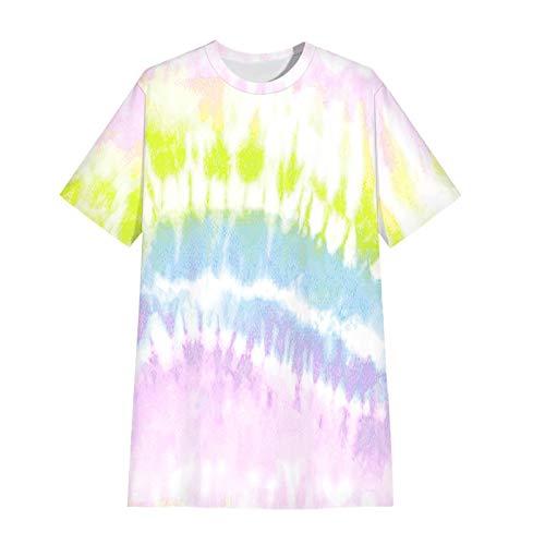 HJFGIRL Jersey Estampado Suelto Casual Manga Corta Camiseta Moda de Verano Vestido Medio Superior Delgado para Verano,B-Xxlarge