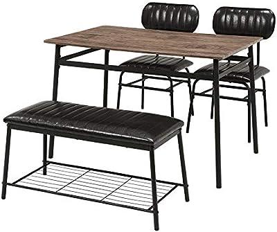 萩原 ダイニングテーブルセット ベンチタイプ ブラック LDS-4884BK チェア 食卓 ダイニングチェア ダイニングセット 子供
