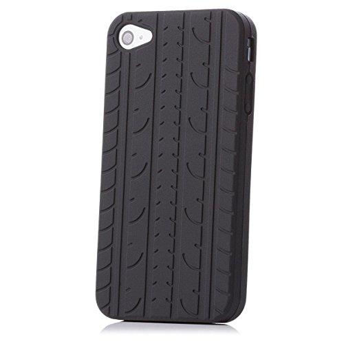 Apple iPhone 4 / 4S | neumáticos iCues caso de TPU Negro | [Protector de pantalla, incluyendo] caso de la piel Tread hombres de los individuos de gel de silicona de protección envolvente de la cubierta Funda Carcasa Bolsa Cover Case