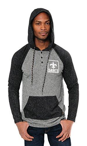 Ultra Game NFL New Orleans Saints Mens Fleece Hoodie Pullover Sweatshirt Henley, Team Color, Large