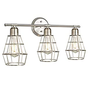 3-Light Industrial Bathroom Vanity Lights, Brushed Nickel Wall Sconce with Silver Cage, Vintage Farmhouse Light Fixture, Anti-Rust Wall Light for Dressing Table, Mirror Cabinets, Kitchen, Living Room