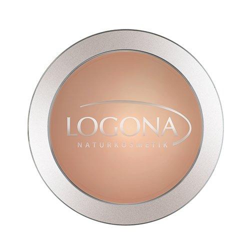 LOGONA Naturkosmetik Face Powder No. 03 Sunny Beige, Natural Make-up, mattierender Kompaktpuder, Dunkler Hautton, fixiert zuverlässig die Foundation, Bio-Extrakte, Vegan, 10 g