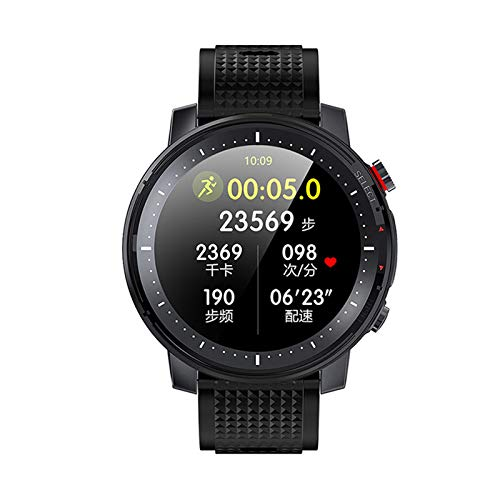 YFC Reloj Inteligente Deportivo L15 IP68 Impermeable para Hombres PPG ECG Bluetooth SmartWatch Fitness Tracker Monitor de Ritmo cardíaco Pantalla táctil Completa (Color : Negro)