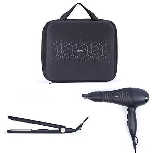 Secador de pelo de 2000 W, secador de pelo con plancha para rizos y alisar, plancha de pelo de cerámica y secador en el juego, secador de viaje con bolsa, secador de pelo, 3 niveles de tempera