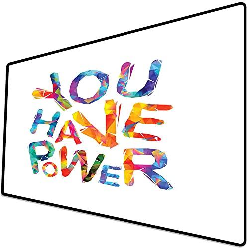 Alfombrilla de ratón (600x300x3 mm) Cita, Tienes Poder inscripción Motivacional Letras Triangulares Colorido diseño Juvenil, Multicol Superficie Suave y cómoda de la Alfombrilla de ratón para Juegos