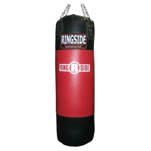 Ringside Leather Boxing Punching Heavy Bag (Soft Filled) , Red / Black, 200-Pound