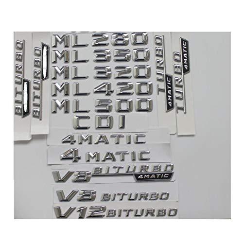 Emblema de letras cromadas para maletero ML55 ML63 AMG ML300 ML350 ML400 ML500 4MATIC CDI W166 W164