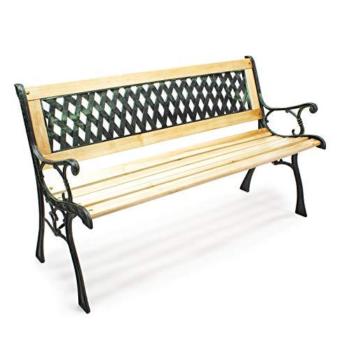 Wiltec Gartenbank Sitzbank Inge aus Holz und Gusseisen mit Gittermotiv Parkbank Zweisitzer Bank