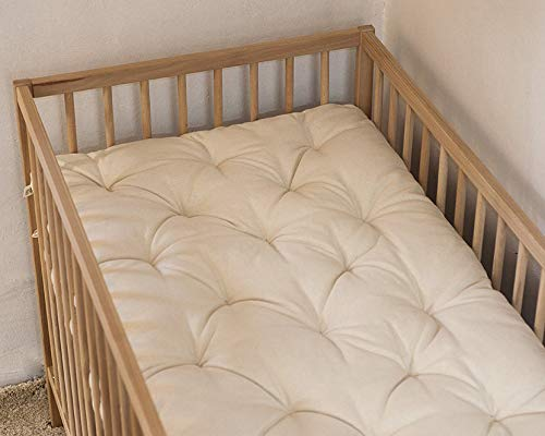 Home of Wool Crib Or Cot Wool Mattress Topper / 100% Natural Mattress Pad 4 cm Thick - Crib 59% Linen 41% Cotton