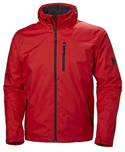 Helly Hansen Crew Hooded Midlayer - Chaqueta Impermeable, Cortavientos y Transpirable, con Forro Polar y Capucha Integrados, Hombre, Rojo (222 Alert Red), M