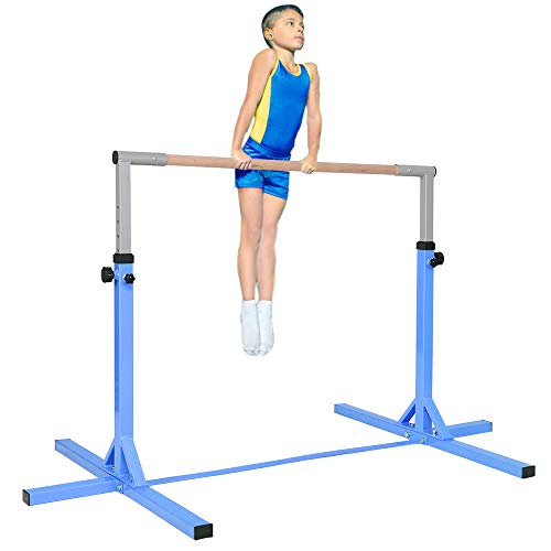 """C-Chain Professional Gymnastics Junior Training Bar - Stainless Steel, Training Bar. 36""""-59"""" Height Adjustable, Gymnasts 1-4 Levels, 220 lbs Weight Capacity, Ideal for Indoors, Home Practice (Blue)"""