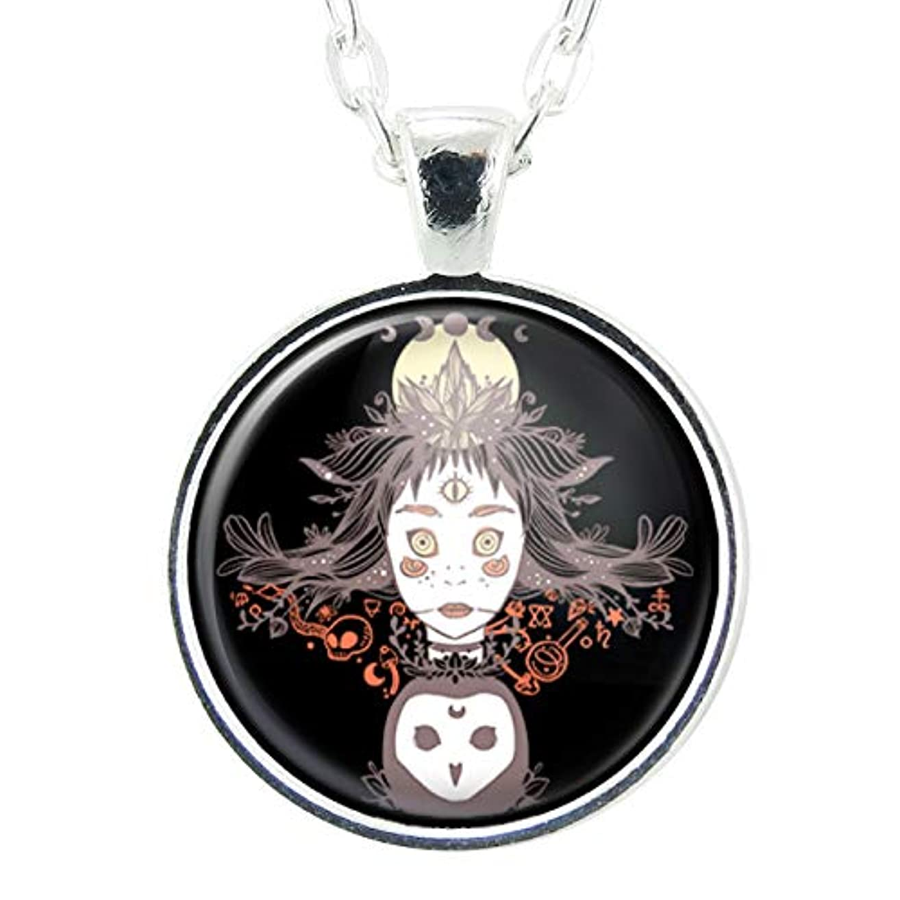 Witch And Owl Artwork, Handmade Art Pendant, Black 1 Inch Charm On 24 Inch Necklace Chain