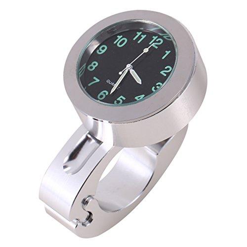 """Wasserdichte Motorrad 7/8\""""bis 1\"""" Lenkeruhr, Universal Lenker Glow Mount Clock Uhr Silber Passend für die meisten Motorrad Cruiser Chopper Custom"""