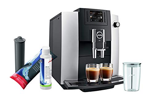Jura E6 Platinum Automatic Coffee Machine Set with Smart Water Filter, Milk System Cleaner and Milk Container
