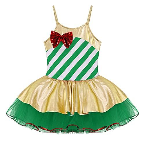 IEFIEL Vestido de Danza Ballet Niña para Fiesta Navidad Vestido Tirantes de Patinaje Artistico Maillot con Tutú de Danza Moderna Ropa de Danza Niña Verde 7-8 años
