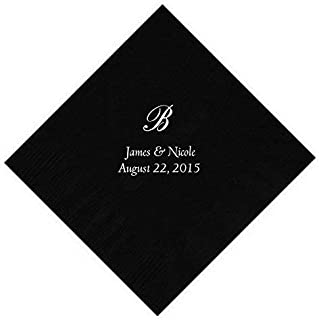 Personalized Cocktail, Beverage or Dessert Script Monogram Napkins (100)