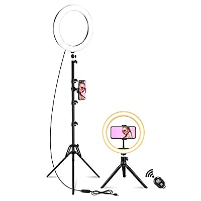 10'' Ring Light,AOBISI 3 Usages Selfie Ring Light with Tripod Stand,3 Modes 10 Brightness Camera Ring Light with Stand and Phone Holder for YouTube,Live Stream,Makeup,Photography from AOLIGEI-LED