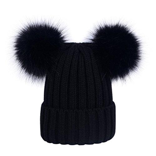 Lau's Bonnets beanie femme chaud hiver, Bonnet en tricot côtelé à deux pompons en fausse fourrure Noir