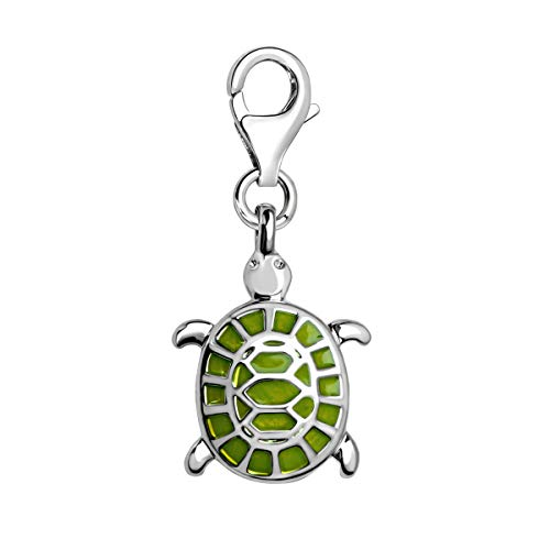 Quiges Charms Anhänger Grüne Emaille 3D Schildkröte Versilbert Damen Schmuck für Bettelarmband