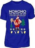 Kreisligahelden T-Shirt Herren Lustig Ho Ho Ho mal EIN Bier - Kurzarm Shirt Baumwolle mit Motiv Aufdruck - Weihnachten Party Ugly Christmas Fun Saufen Bier