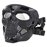 SGOYH Airsoft Táctico Skull Messenger Masks Equipo de protección Máscara Facial Completa para Caza de Halloween Paintball CS Wargame (Negro)