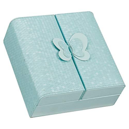 LICHUAN Joyero de piel sintética con diseño de mariposa, de estilo europeo, de gran capacidad, para guardar joyas (color: azul)
