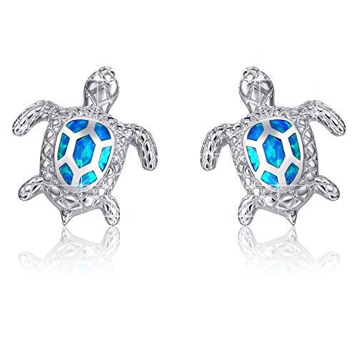 Blauer Opal Meeresschildkröte Ohrring Sterling Silber Ohrringe Schmuck für Frauen Geschenke