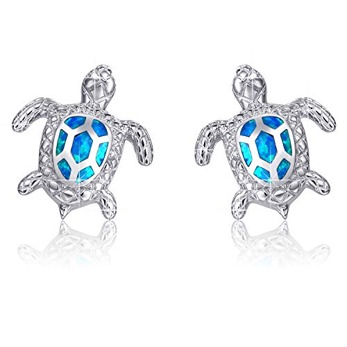 Pendientes de plata esterlina con forma de tortuga de mar de ópalo azul, joyería para mujeres, regalos