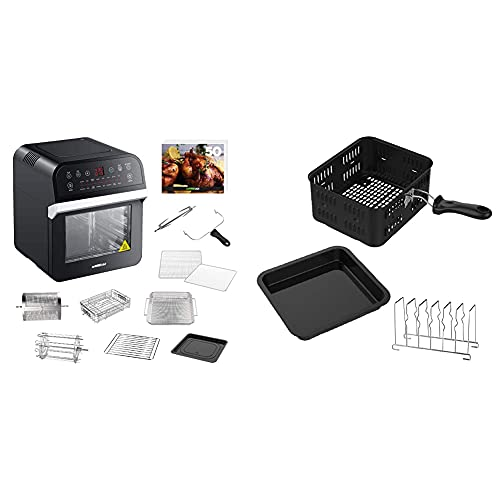 GoWISE USA GW44800-O Deluxe 12.7-Quarts 15-in-1 Electric Air Fryer Oven with Rotisserie and Dehydrator + 50 Recipes QT, Black/Silver & GWA0080 Kit 3-Piece Air Fryer Oven Accessory