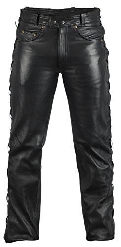 MDM Lederjeans Lederhose Bikerjeans Rockerjeans Motorradhose seitlich geschürt schwarz (32)