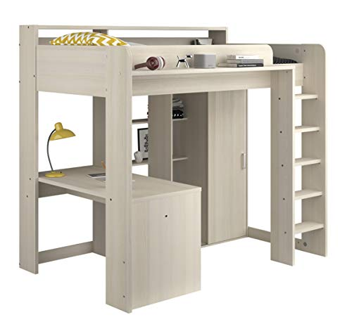 Parisot GRASEKAMP Qualität seit 1972 Hochbett mit integriertem Schreibtisch und Schrank - Higher