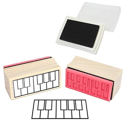 Briefmarke aus Gummi für die Grifftabelle- Piano / Klavier Und Stempel Stempelkissen.