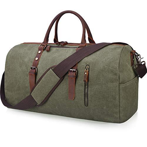 Reisetasche, groß, Segeltuch, für Damen und Herren, Leder, armee-grün (Grün) - 2058