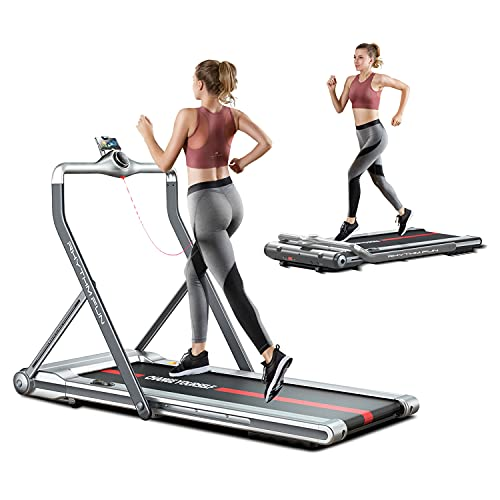 RHYTHM FUN Treadmill 2-in-1 Folding Treadmill Under Desk Walking Treadmill with Foldable Handrail Wide Tread Belt Super Slim Mini Quiet Home Treadmill with Smart Remote Control and Workout App(Sliver)