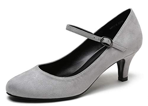 CAMSSOO Women's Mary Jane Kitten Heel Pumps Round Closed Toe Mid Low Heels Office Work Shoes Grey Velveteen Size US8.5 EU41