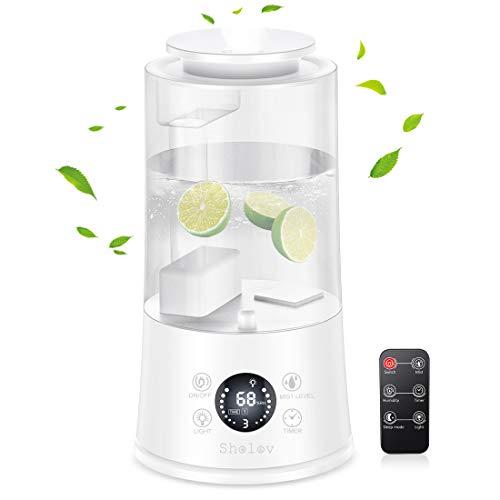 Sholov - Humidificador de aire (4 L, ultrasónico, silencioso, con mando a distancia, 3 niveles de niebla, apagado automático, temporizador de 1 a 12 horas para la oficina de familia