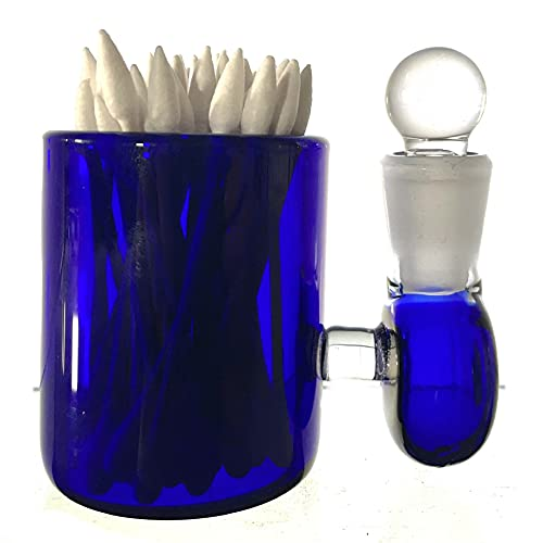 Blue Large 3' Heady Hand Blown Glass Cotton Swab Q-Tip Holder/Alcohol ISO Station