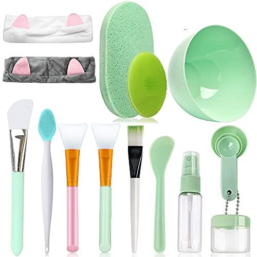 4 pinceles de silicona para mascarillas, juego de herramientas de maquillaje con cintas para el pelo, botella pulverizadora, espátula, cuenco para mascarilla, cepillo para espinillas, esponja