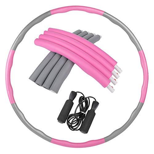 Orangehome Hula-Hoop-Hoop-Reifen für Erwachsene und Kinder, mit Springseil für Gewichtsverlust, abnehmbares Design, Pink und Grau