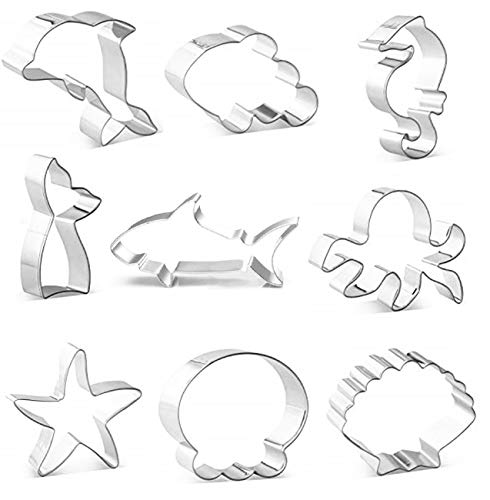 DEVIN0705 under the Sea Creatures Cookie Cutter Set- piece, Seastar, Seashell, Seahorse, Heim,shark,Octopus, fish tail,Dolphin, clownfish,Cookie Cutters Molds for Kids Birthday Party Supplies Favors.