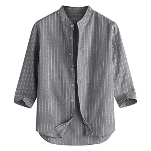 Deelin overhemd, gestreept, modieus, eenvoudig, heren, lente, herfst, amlie, casual, knop, kraag, lange mouwen, blouses, tops 2019