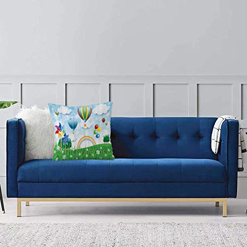 Comode federe e fodere per cuscini,Girandola, Campo primaverile floreale con aria calda Baloons Nuvole arcobaleno Paesaggio giardino ma Per la decorazione del divano letto 1 pezzo 40x40cm