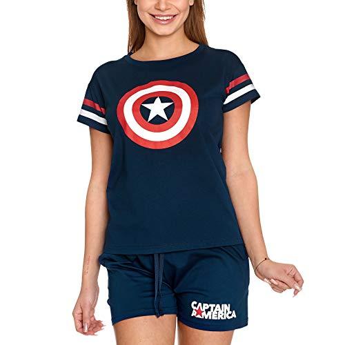 Elbenwald Marvel Pyjama Captain America Shield Logo Frontprint 2 teilig Shirts und Shorts für Damen blau - XL