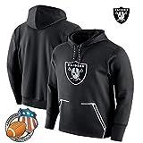 Jacket NFL Sweat-Shirts -Rugby Oakland Raiders Football Training Costume Running Séance D'entraînement Sweat Black-XXL